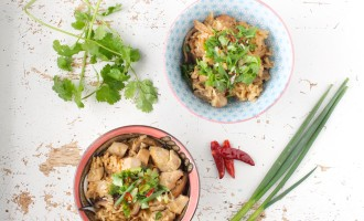 Malaysian claypot chicke (or tofu) rice in a rice cooker