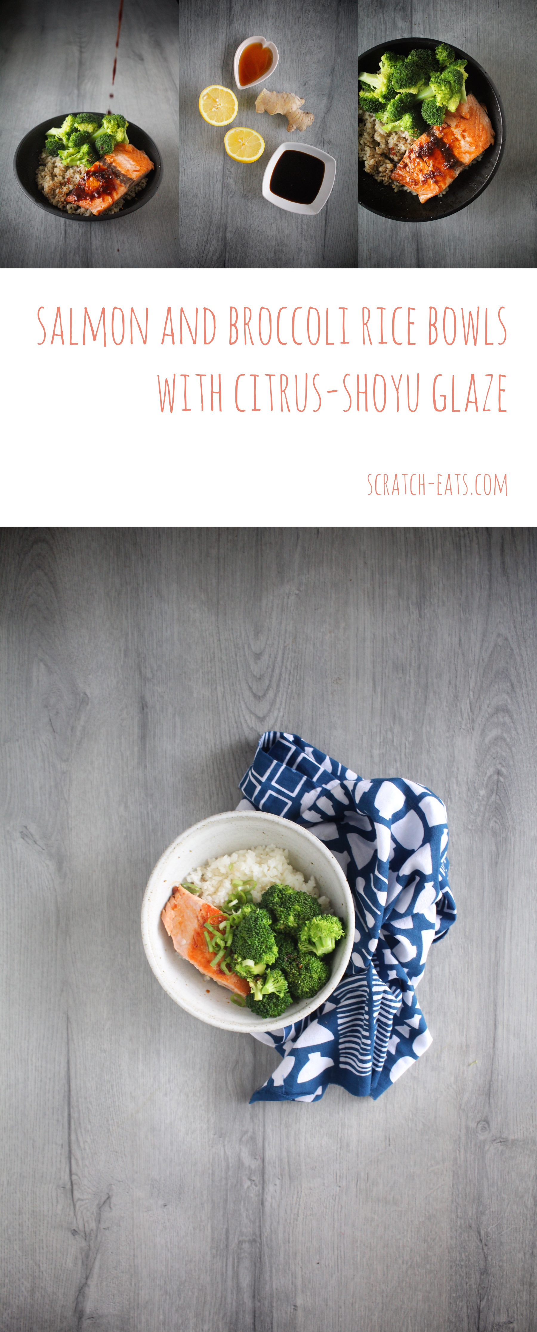 salmon & broccoli rice bowls with citrus-shoyu glaze