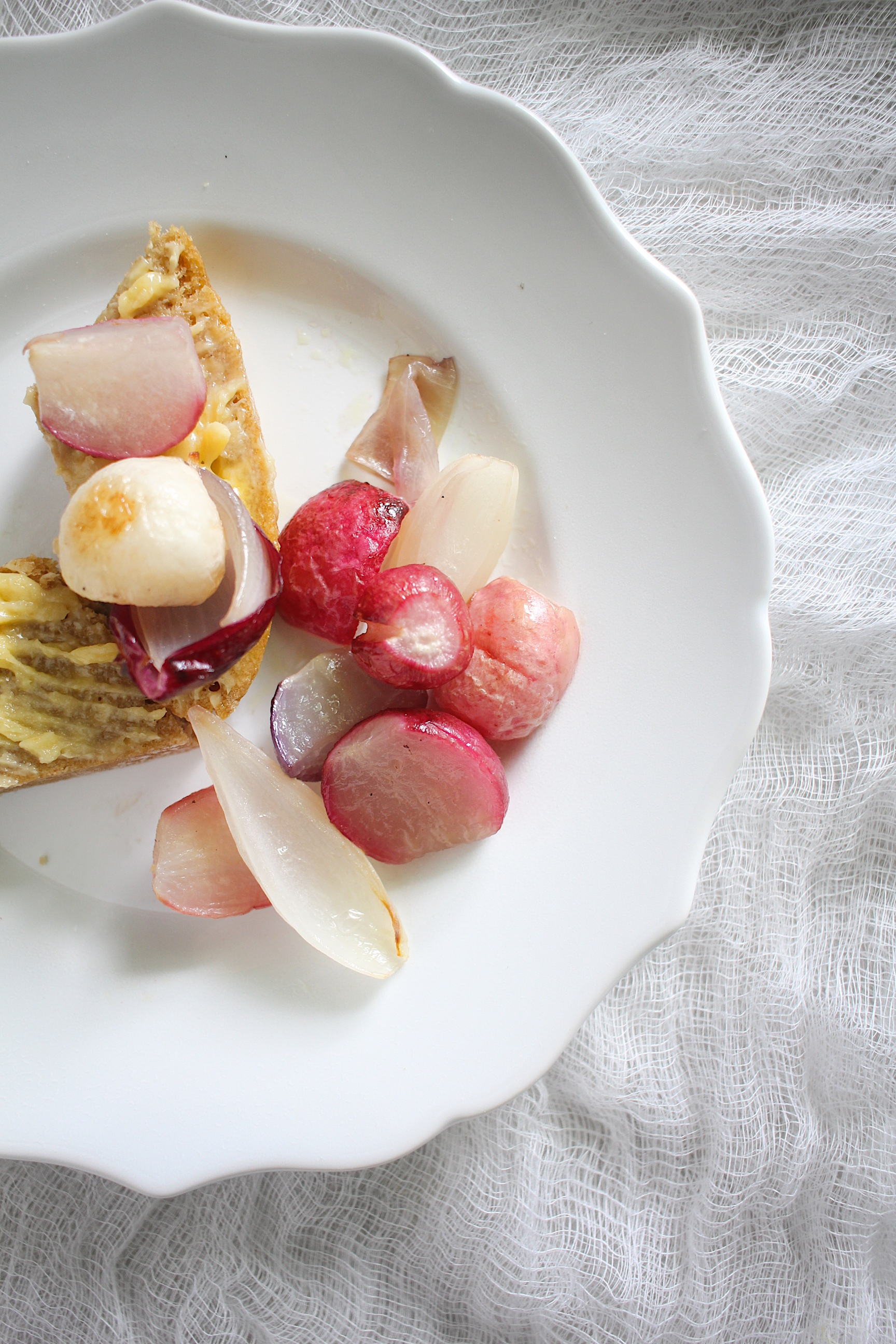 roasted radish and spring onion with miso compound butter
