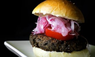 sprouted black lentil and walnut burgers