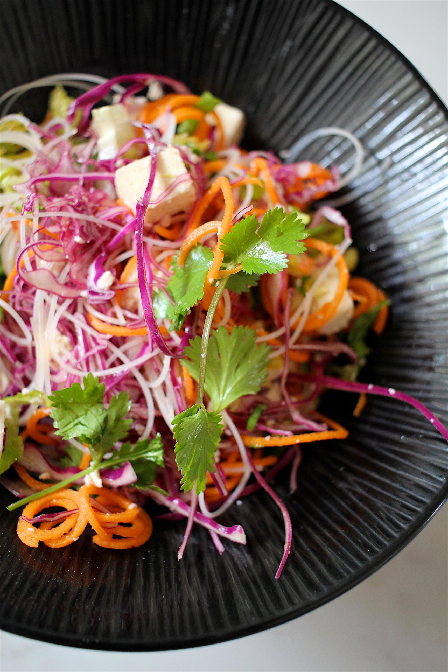 tofu + rice noodle salad